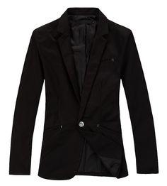Black Cotton One Button Men Slim Fit Suit M/L/XL/XXL@YSPX01b