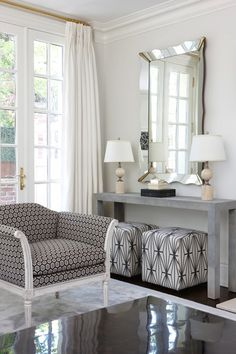Anne Hepfer Designs: Gorgeous living room with pale gray walls, pale blue ceiling and French windows leading ...