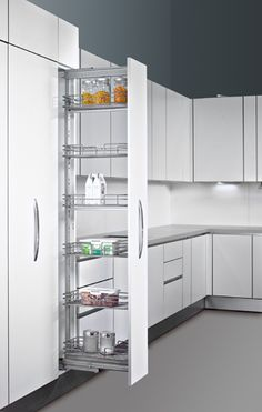 Pull Out Pantry Storage Units | Hettich, Pull-out Pantry system, kitchens, storage, Magic LED Lighting ...