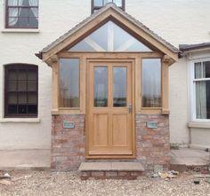 Com entrance porch design Porch Uk, Front Door Porch, Cottage Porch, Porch Doors, Front Porch Design, House With Porch, House Front, Garage Design, Oak Front Door