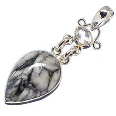 "Pinolith Jasper, White Quartz 925 Sterling Silver Pendant 2"" PD555553"