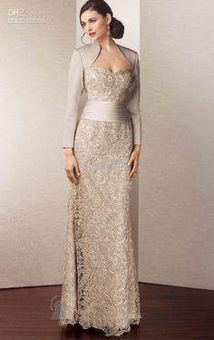 2013 Vintage Lace Long Sleeve Mother of the Bride Dresses With Jacket M1257