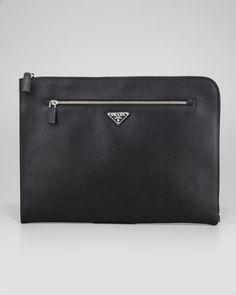 Saffiano Zip-Top Portfolio, Black by Prada at Bergdorf Goodman.