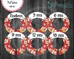Cherry Blossom Baby Girl Closet Dividers to Organize Clothing for Baby Room   Red Sakura