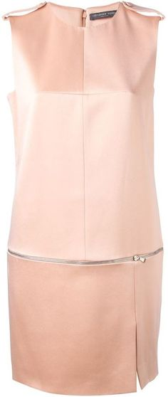 $1,245, Pink Silk Shift Dress: Alexander McQueen Zip Detailed Shift Dress. Sold by farfetch.com. Click for more info: http://lookastic.com/women/shop_items/104715/redirect