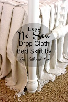 DIY Bedroom Decor Ideas - Easy No Sew Drop Cloth Bed Skirt - Easy Room Decor Projects for The Home - Cheap Farmhouse Crafts, Wall Art Idea, Bed and Bedding, Furniture Cool Diy, Diy Quilt, Quilts, Diy Bedroom Decor, Diy Home Decor, Diy Crafts Home, Bedroom Interiors, Bedroom Colors, Bedroom Ideas