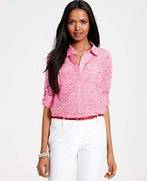 Scattered Dot Print Silk Cotton Camp Shirt - We love the effortless charm of this wear-anywhere style, delightfully dot sprinkled for a colorful touch. Point collar. Long sleeves with button tabs. Forward shoulder seams. Hidden button front. Flap chest pockets. Back yoke with box pleat. Shirttail hem.