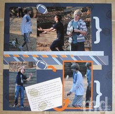 Football & Fingers - right page of a scrapbook layout - Stampin' Up!