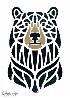 Bear print, wildlife artwork - portrait - bears artwork - gift for bear lovers - black bear - North Tribal Bear Tattoo, Bear Tattoos, Black Bear Tattoo, Alaska Tattoo, Tribal Drawings, Bear Totem, Geometric Bear, Bear Drawing, Marquesan Tattoos