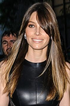 jessica biel- side swipe bangs- brunette- ombre- red carpet- straight hair- celebrity hair-celebrity hairstyles-celebrity hair cuts-celebrity hair 2016-celebrity hair color
