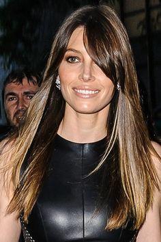 jessica biel- side swipe bangs- brunette- ombre- red carpet- straight hair- celebrity hair-celebrity hairstyles-celebrity hair cuts-celebrity hair 2016-celebrity hair color