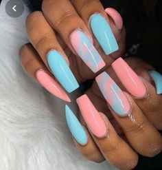"If you're unfamiliar with nail trends and you hear the words ""coffin nails,"" what comes to mind? It's not nails with coffins drawn on them. Although, that would be a cute look for Halloween. It's long nails with a square tip, and the look has. Acrylic Nails Natural, Summer Acrylic Nails, Best Acrylic Nails, Summer Nails, Acrylic Nails Coffin Kylie Jenner, Full Set Acrylic Nails, Baby Pink Nails Acrylic, Colourful Acrylic Nails, Colored Acrylic Nails"