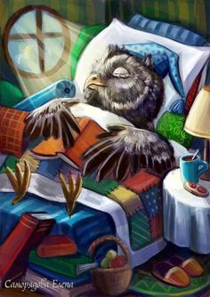 Late night reading Stretched Canvas 2725 by Wall Art Prints Illustrations, Illustration Art, Owl Graphic, Owl Pictures, Funny Birds, Owl Bird, Cute Owl, Pics Art, Whimsical Art