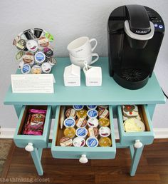 Hot Drinks Station Table Makeover using Annie Sloan Chalk Paint in Provence | Tutorial with step by step breakdown for beginners!  There is NO need to be intimidated by this medium any longer.   Trust me!  You are going to fall in love.