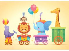 This would also be very cute on the wall. Kawaii Circus Parade by Jerrod Maruyama Circus Train, Circus Theme, Circus Party, Illustration Mignonne, Cute Illustration, Illustrator, Carnival Themes, Kawaii Art, Cute Cartoon