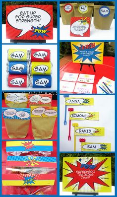 Superhero Birthday Party Decorations & Invitation by SIMONEmadeit Superhero Party Invitations, Superhero Theme Party, Superman Party, Superhero Classroom, Birthday Party Decorations, Party Themes, Birthday Parties, Birthday Ideas, Create Your Own Superhero