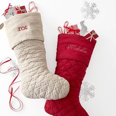 #Monogram Quilted Stockings, so classic! // Mark and Graham- #Christmas #ChristmasStockings