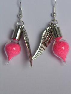 Hot Pink fairy dust vial earrings £5.00