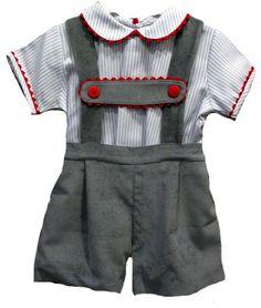Conjunto de niño con pantalón con tirantes y camisa de rayas grises - Conjuntos Bebé hasta los 4 Años - Mundo Kiriko