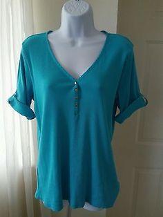 Ralph Lauren Womens Teal Blue 100% Cotton Knit Top Sz XL Short Sleeve V-Neck