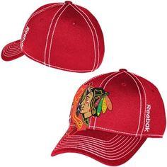 43282221ac436 Mens Chicago Blackhawks Reebok Red Face Off Draft Spin Flex Hat