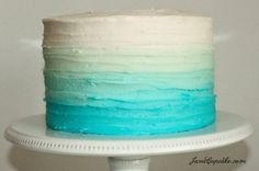 Blue Ombre Cake Tutorial - JavaCupcake - Great for Baby Shower