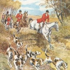 . Hunting Art, Fox Hunting, The Fox And The Hound, Horse Art, Painting Inspiration, Watercolor Paintings, Scene, Horses, Rabbits