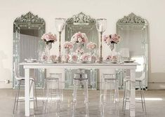 Ghost chairs teamed with pretty pinks and venetian mirrors.Nothing more beautiful! Wedding Designs, Wedding Styles, Wedding Ideas, Wedding Inspiration, Wedding Stuff, Lucite Furniture, Acrylic Furniture, Furniture Ideas, Ghost Chairs