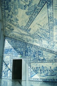 blue white interior door and ceiling