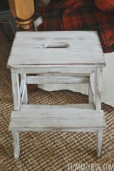 ikea hack beckvam step stool makeover, painted furniture, I used miss mustard seeds milk paint in grainsack for the paint