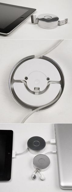 make your usb/headphones/iphone cables self-retracting