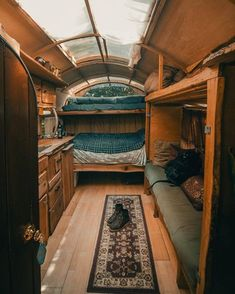 Bus Living, Tiny House Living, Cozy House, Living On A Boat, Gypsy Living, Cozy Cabin, Living Rooms, School Bus Camper, School Bus House