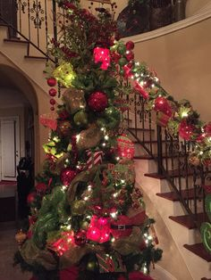 Tree I decorated and matching banister for a client