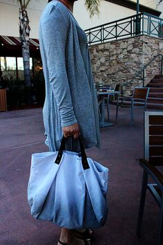CANVAS WEEKENDER BAG...Gray with dark brown leather by cocosheaven