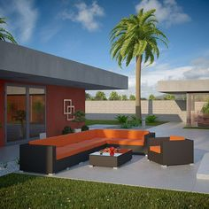- Palm 7 Piece Outdoor Patio Wicker Sectional Set in Espresso Orange