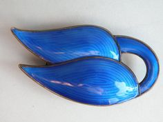 J Tostrup Norway sterling silver Blue Enamel Pin