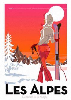 Richard Zielenkiewicz: Le sport d'hiver Old Posters, Vintage Ski Posters, Retro Poster, Art Deco Posters, New Poster, Movie Posters, Party Vintage, Vintage Ads, Illustrations Vintage