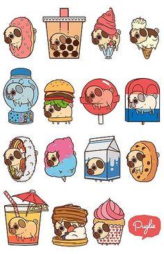 Two for my favorite things in the world pugs and food Cute Food Drawings, Cute Animal Drawings, Kawaii Drawings, Stickers Kawaii, Cute Stickers, Art Kawaii, Art Mignon, Pug Art, Cute Doodles