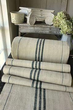 Antique Vintage STAIR RUNNER HEMP Fabric ~ LOVELY Green Stripes ~ Homespun  1yd   5th Village