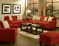 Red furniture with metallic accents! #metallic #red #accent