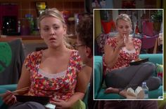 Penny's floral print top with lace on The Big Bang Theory.  Outfit details: http://wornontv.net/5831/