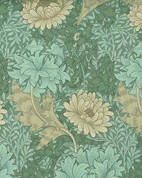 Chrysanthemum Green/Biscuit från William Morris & Co William Morris Wallpaper, Morris Wallpapers, Eugene Grasset, Arts And Crafts Movement, Chrysanthemum, Creative Art, Biscuit, Pattern Design, Celadon