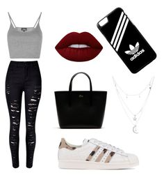 """""""Friday Outfit #1"""" by lisaandlena ❤ liked on Polyvore featuring Topshop, WithChic, adidas Originals, Lacoste, Charlotte Russe, Lime Crime and adidas"""