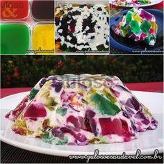 Quer preparar uma sobremesa que a criançada (e não só) ama? O Mosaico de Gelatinas é delicioso, tem visual incrível e é fácil de fazer!  #Receita no link => http://www.gulosoesaudavel.com.br/2012/03/09/mosaico-gelatinas/