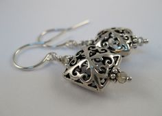 Bali oxidized sterling silver pillow square shaped filigree cross design bead Chinese crystal Everyday earrings Dressy Ornate earrings - pinned by pin4etsy.com