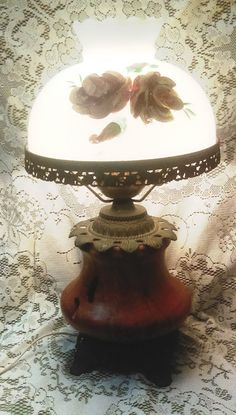 Beautiful accurate casting lamp/Vintage Lamp/Home Decor/Victorian Decor/Hurricane lamp/Hand painted/ by GenesisVintageShop on Etsy