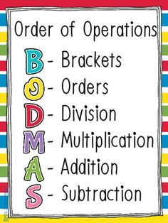FREE! BODMAS Poster - Order of Operations
