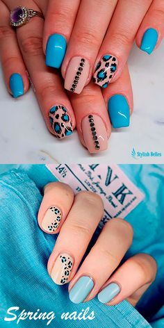 Best Nails Ideas for Spring 2019 If you are searching for cute nail colors for spring and beautiful spring nail designs then check our Stylish nails especially Floral nails and butterfly nails. Speing Nails, Blue Nails, Nail Design Spring, Spring Nail Colors, Cute Nail Colors, Bright Colors, Leopard Print Nails, Leopard Nail Art, Cute Nail Designs