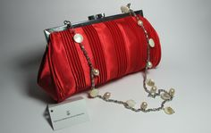 Red satin clutch with mother of pearl and white freshwater pearls