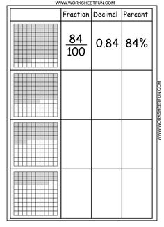 Number and Operations- Fractions Understand decimal notation for fractions, and compare decimal fractions. Students look at a partially filled array and write the number that is represented as a fraction, decimal, and percent. Fractions Worksheets, Free Math Worksheets, Math Fractions, Kindergarten Worksheets, Printable Worksheets, Free Printable, Number Worksheets, Alphabet Worksheets, Fractions Decimals And Percentages